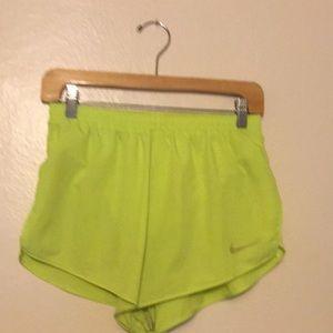 Nike Neon Yellow Split Shorts SIZE: M